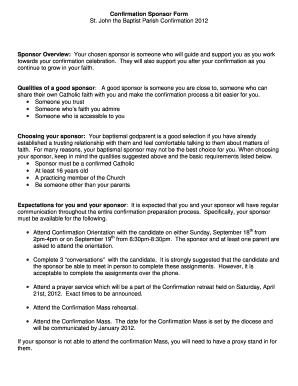 Confirmation Sponsorship Form  Blank Sponsorship Forms