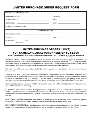 Fillable Online uaf LIMITED PURCHASE ORDER REQUEST FORM - uaf Fax
