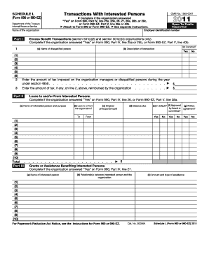 form schedule l part iv 501 c 6 irs code