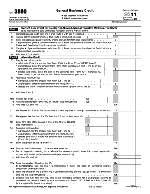 Tax Form 3800 - Fill Online, Printable, Fillable, Blank | PDFfiller