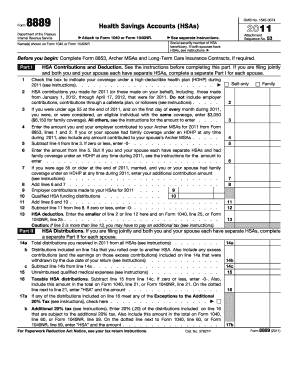irs for 8889 2011 form