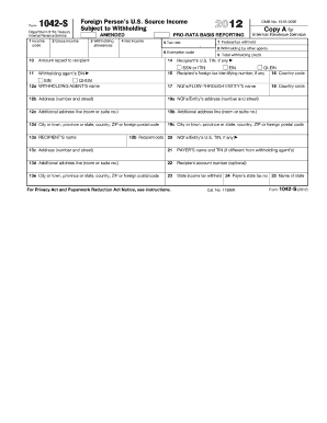 irs form 1042 s 2012