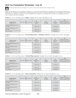 Printables Foreign Earned Income Tax Worksheet 2012 tax computation worksheet line 44 form fill online printable online
