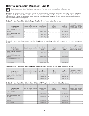 Worksheet Tax Computation Worksheet tax computation worksheet 2006 form fill online printable related content 2012 line 44