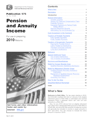 Publication 575 Pension And Annuity Income - Fill Online ...
