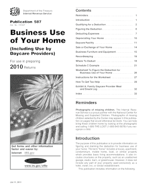 irs publication 587 worksheet 2010 form
