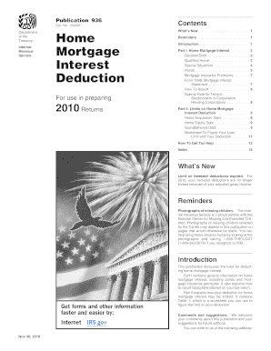 home mortgage interest worksheet 2010  form