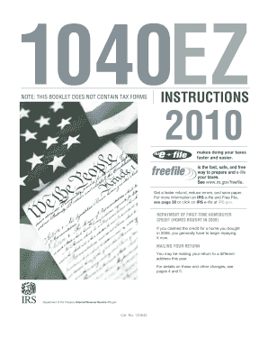 2010 1040ez Instructions - Fill Online, Printable ...