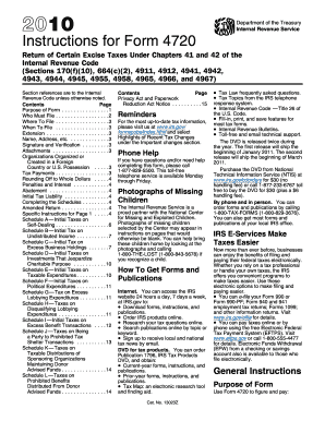 2010 Form 4720 - Fill Online, Printable, Fillable, Blank | PDFfiller