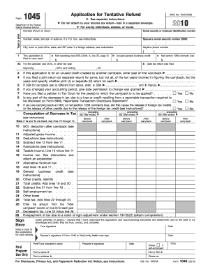 Form 1045 2010 - Fill Online, Printable, Fillable, Blank | PDFfiller