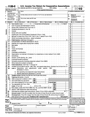 2010 Form 1120-C. U.S. Income Tax Return for Cooperative Associations