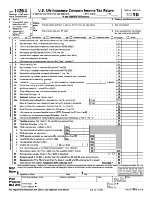 2010 Form 1120-L. U.S. Life Insurance Company Income Tax Return