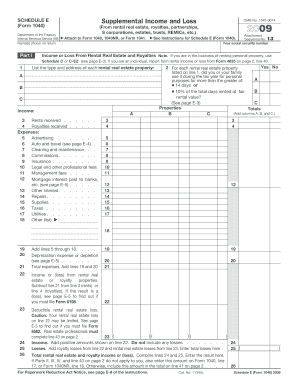 Federal Tax Form Schedule E - Fill Online, Printable, Fillable ...