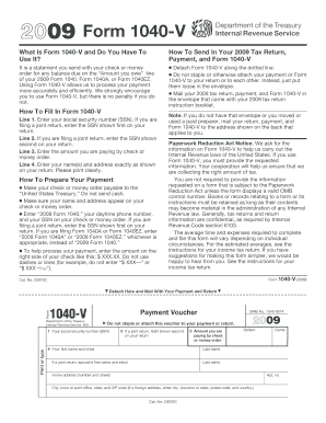 2009 Form 1040 V - Fill Online, Printable, Fillable, Blank | PDFfiller