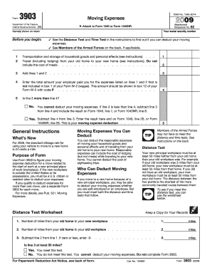 2009 Irs Form 3903 - Fill Online, Printable, Fillable, Blank ...