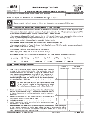 Form 8885 Health Coverage Tax 2009 - Fill Online, Printable ...