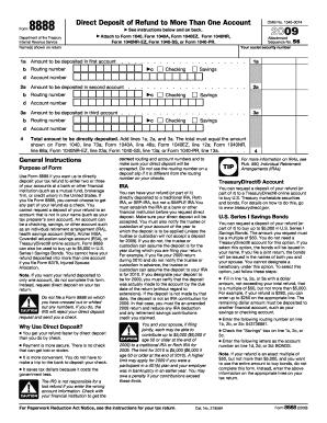 1040 Form 8888 Direct Deposit 2009 - Fill Online, Printable ...