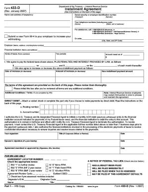 Form 433 D 2007 - Fill Online, Printable, Fillable, Blank | PDFfiller