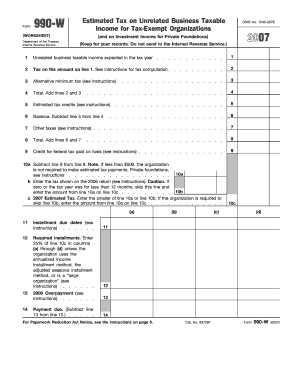 2007 Form 990-W (Worksheet) (Fill-In Capable)