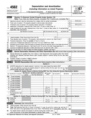 2007 Form 4562 - Fill Online, Printable, Fillable, Blank | PDFfiller