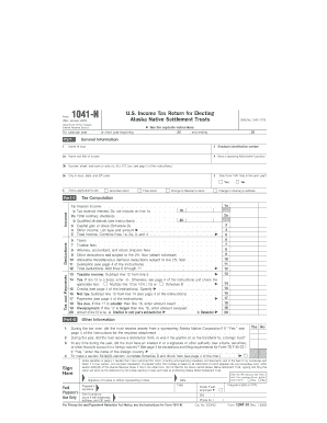 Form 1041-N (Rev. January 2005) (Fill-In Capable). U.S. Income Tax Return for Electing Alaska Native Settlement Trusts