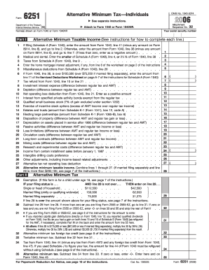 2006 Form 6251 - Fill Online, Printable, Fillable, Blank | PDFfiller