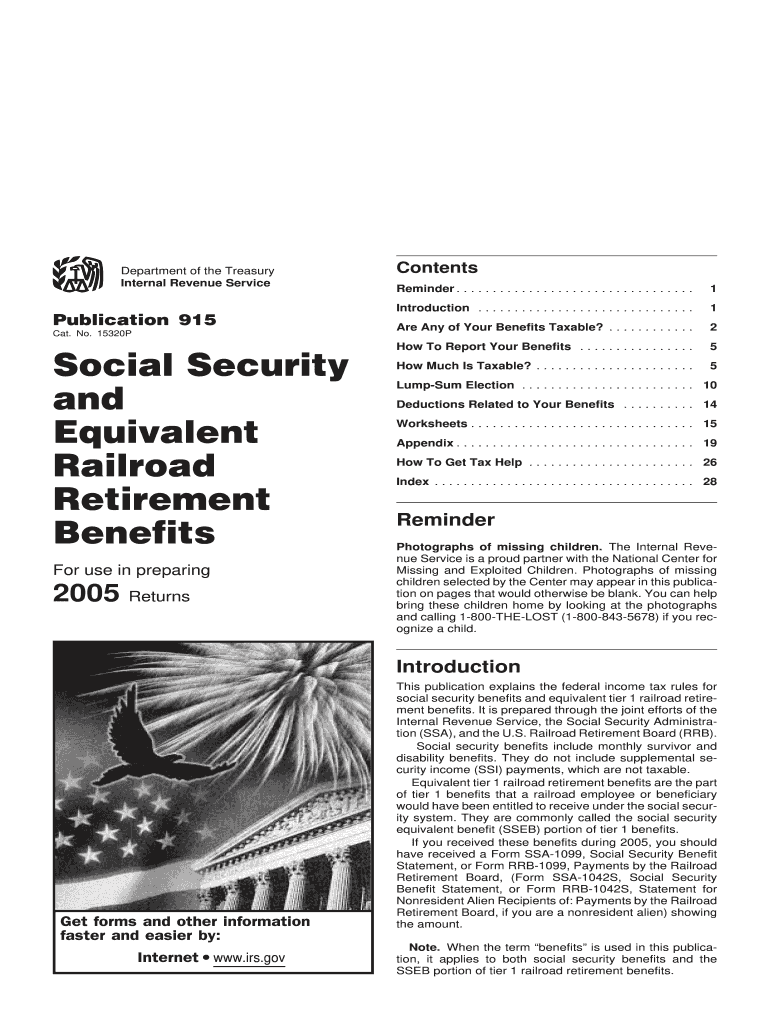 2005 Form Irs Publication 915 Fill Online Printable