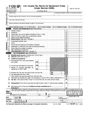 Fillable Online Form 1120-SF (Rev. November 2003). U.S ...