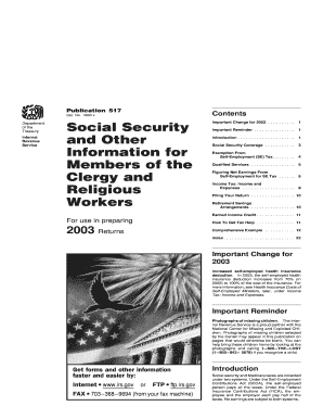 irs publication 517 clergy 2003 form