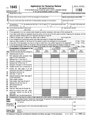 2002 Form 1045 - Fill Online, Printable, Fillable, Blank | PDFfiller