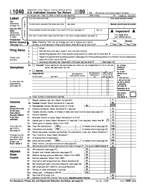 Form 1040 2000 - Fill Online, Printable, Fillable, Blank | PDFfiller