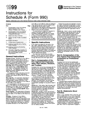 Fillable Online 1999 Instructions for 990 (Schedule A ...