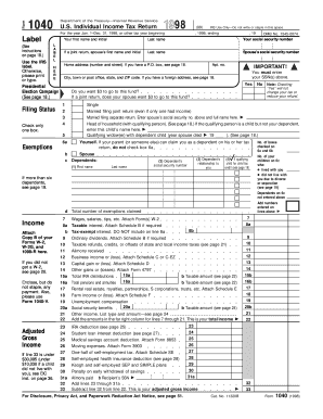irs previous years tax forms1998 online