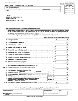 Fillable Online boe ca Short Form - Sales and Use Tax Return ...