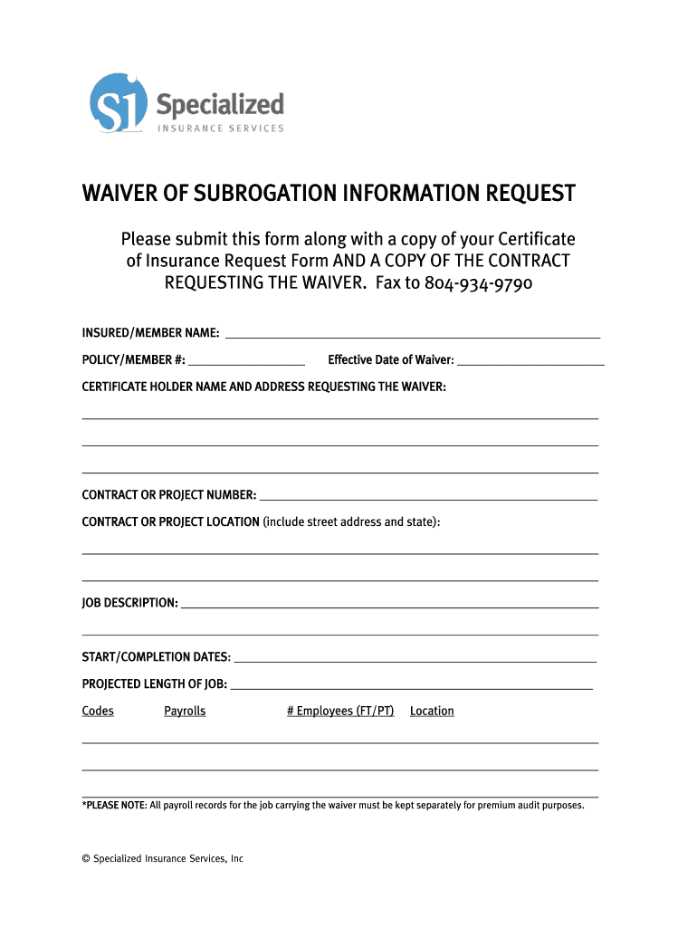 Waiver Of Subrogation Form Fill Online Printable Fillable