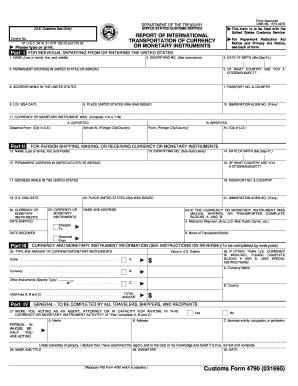 Form 4790 Report Of International Transportation Of Currency Or