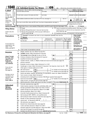 2009 Form IRS 1040 Fill Online, Printable, Fillable, Blank - PDFfiller