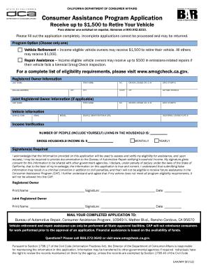 Car Retirement Program Ca >> Bureau Of Automotive Repair Consumer Application Fillable