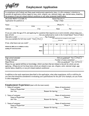 glory days online application form