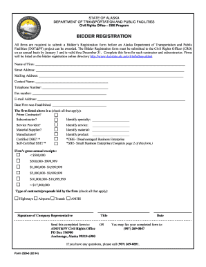 Fillable Online Dot Alaska Bidder 39 S Registration Form