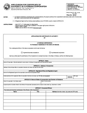 Indiana Registration of Foreign Corporation