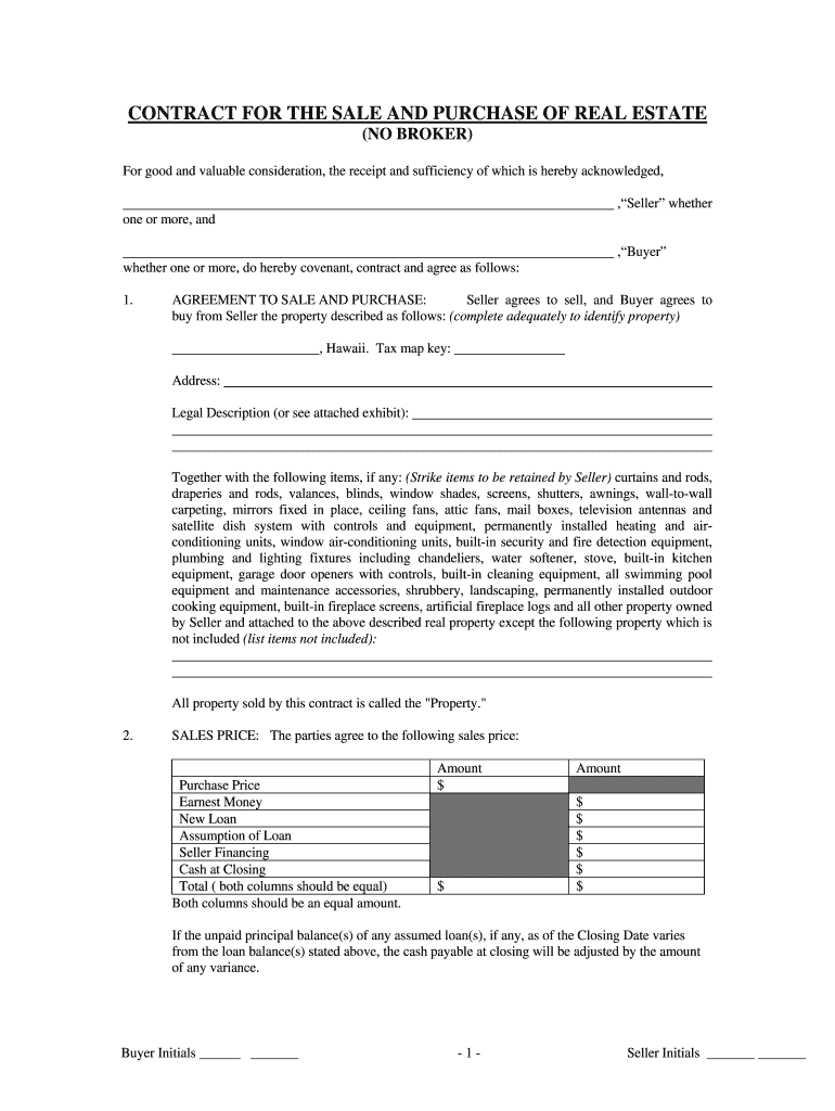 Sale Land Agreement Form For Hawaii - Fill Online, Printable