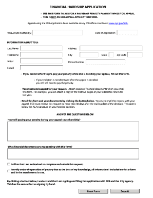 Application Format Financial Hardship - Fill Online, Printable ...