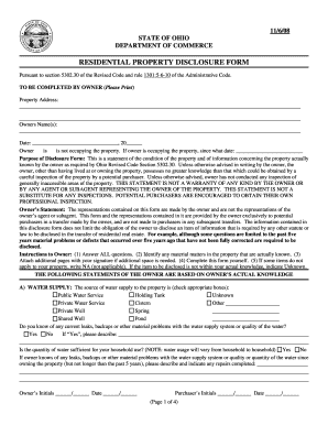 2008 Oh Residential Property Disclosure Form Fill Online Printable