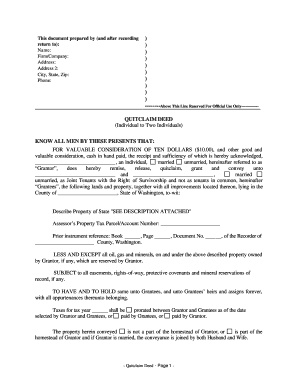 quitclaim deed washington Free Quitclaim Deed Washington State - Fill Online, Printable ...