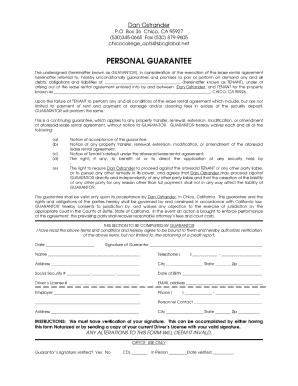 Delightful Personal Guarantee Form