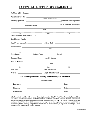 ... LETTER OF GUARANTEE - Housing - University of ... - housing ucsc