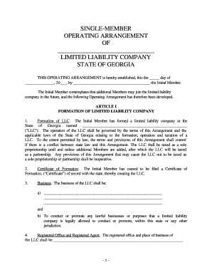 Fillable Online Georgia Single Member Limited Liability Company Llc