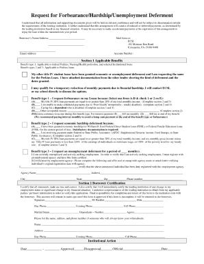 Sample Of Unemployment Deferment Request - Fill Online, Printable ...