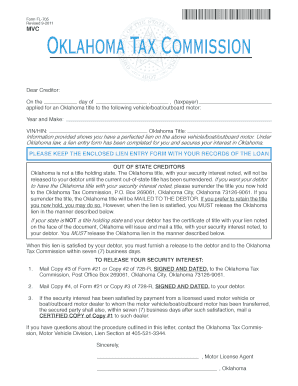 Fillable Online tax ok Oklahoma law, a lien entry form has been ...